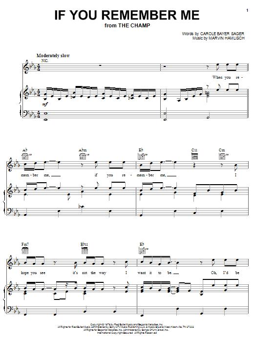 Partition piano If You Remember Me de Marvin Hamlisch - Piano Voix Guitare (Mélodie Main Droite)