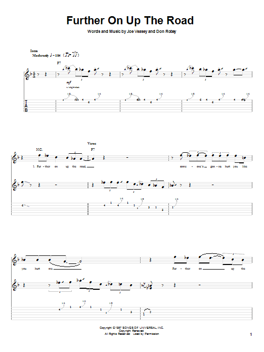 """Tablature guitare Further On Up The Road de Bobby """"Blue"""" Bland - Tablature Guitare"""