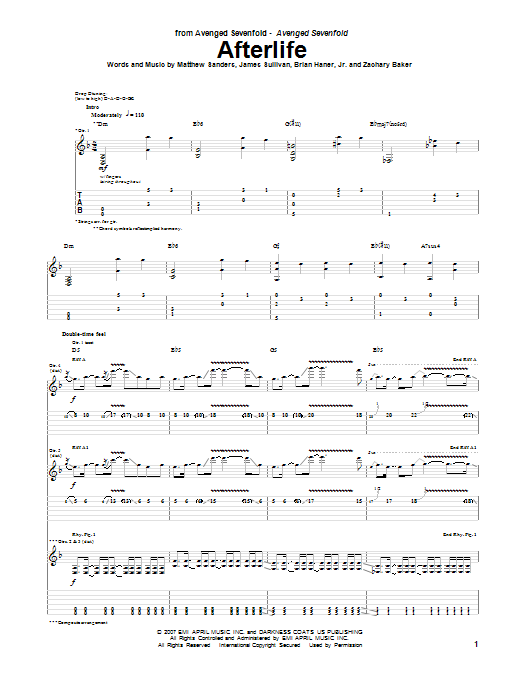 Afterlife Guitar Tab by Avenged Sevenfold (Guitar Tab u2013 63888)