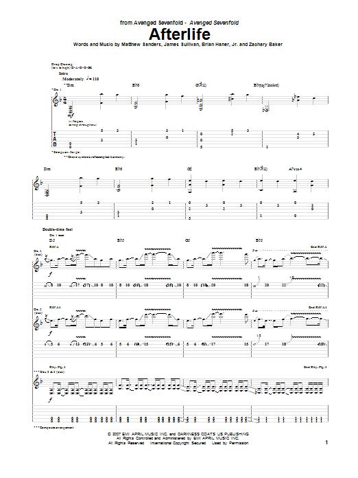 Tablature guitare Afterlife de Avenged Sevenfold - Tablature Guitare
