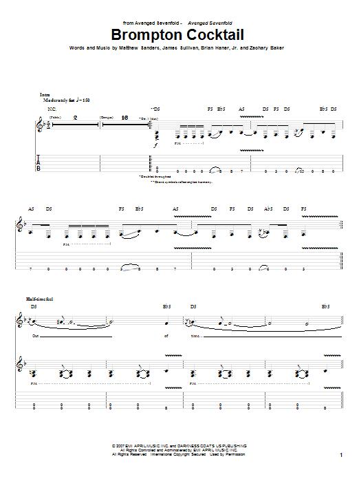 Tablature guitare Brompton Cocktail de Avenged Sevenfold - Tablature Guitare