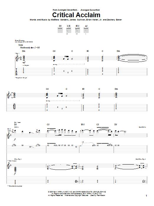 Tablature guitare Critical Acclaim de Avenged Sevenfold - Tablature Guitare