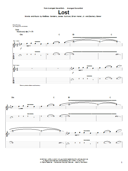 Tablature guitare Lost de Avenged Sevenfold - Tablature Guitare