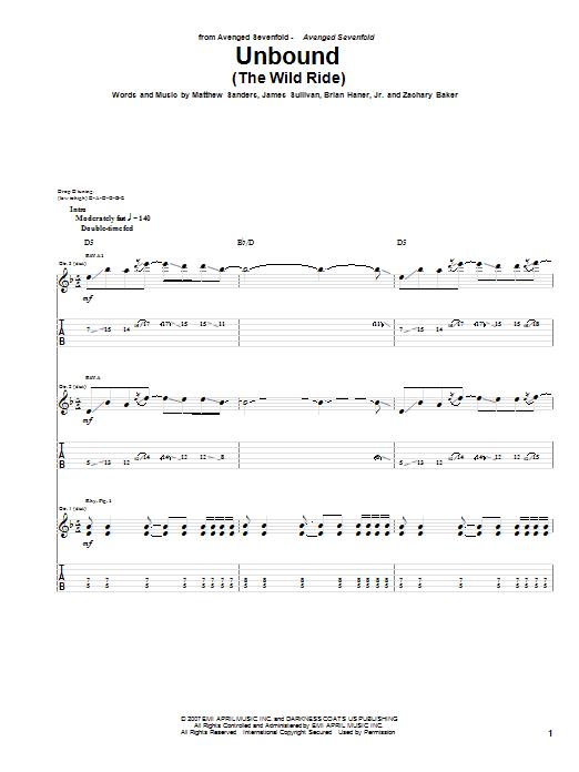 Tablature guitare Unbound (The Wild Ride) de Avenged Sevenfold - Tablature Guitare