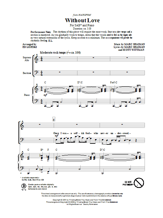 Partition chorale Without Love (from Hairspray) de Marc Shaiman - SAB