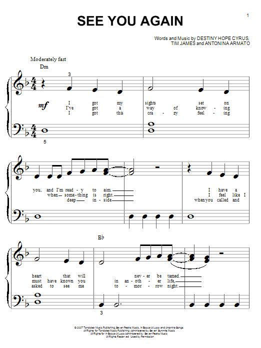 Partition piano See You Again de Hannah Montana - Piano Facile