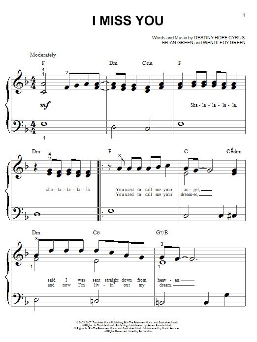 Partition piano I Miss You de Hannah Montana - Piano Facile