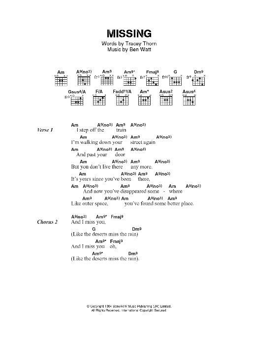 Missing sheet music for guitar solo (chords, lyrics, melody) by Ben Watt