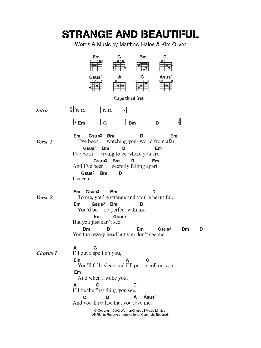Strange And Beautiful sheet music for guitar solo (chords, lyrics, melody) by Kim Oliver