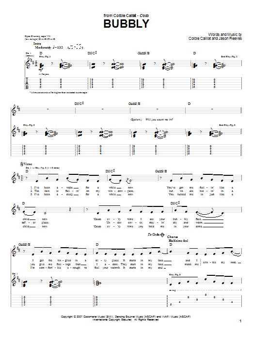 Tablature guitare Bubbly de Colbie Caillat - Tablature Guitare