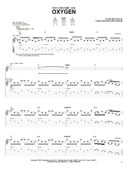 Tablature guitare Oxygen de Colbie Caillat - Tablature Guitare