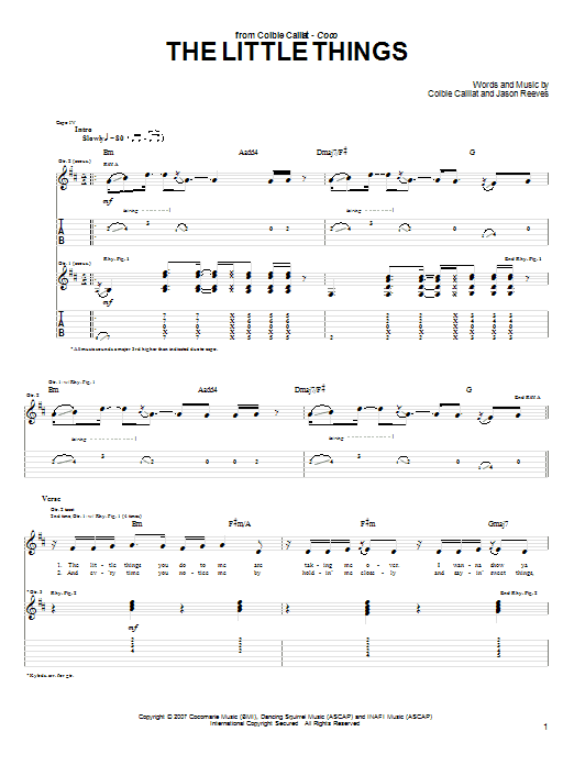 Tablature guitare The Little Things de Colbie Caillat - Tablature Guitare