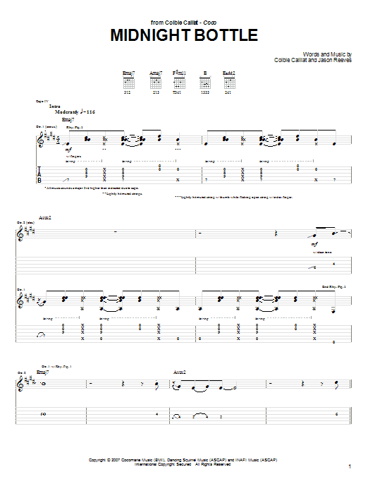 Tablature guitare Midnight Bottle de Colbie Caillat - Tablature Guitare