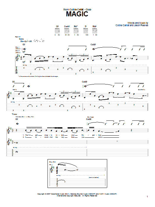 Magic sheet music for guitar solo (tablature) by Jason Reeves