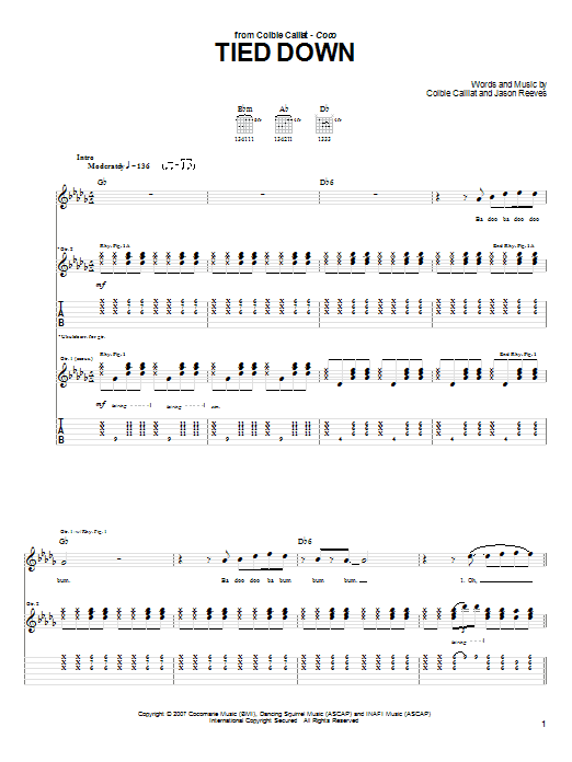Tablature guitare Tied Down de Colbie Caillat - Tablature Guitare