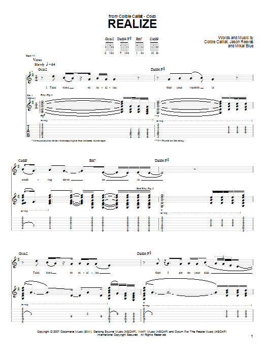 Tablature guitare Realize de Colbie Caillat - Tablature Guitare
