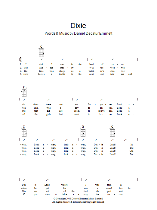 (I Wish I Was In) Dixie by Traditional - Guitar Chords/Lyrics - Guitar Instructor