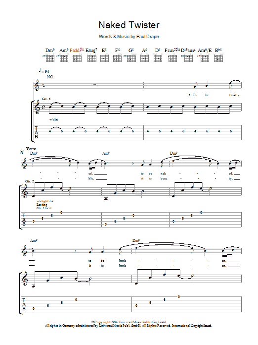 Naked Twister sheet music for guitar solo (tablature) by Paul Draper