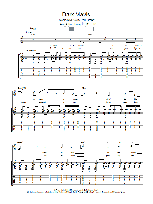 Dark Mavis sheet music for guitar solo (tablature) by Paul Draper