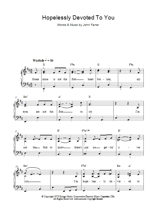 Hopelessly Devoted To You sheet music for piano solo (chords) by John Farrar