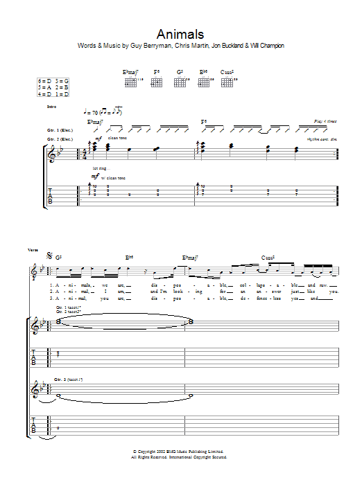 Animals sheet music for guitar solo (tablature) by Chris Martin