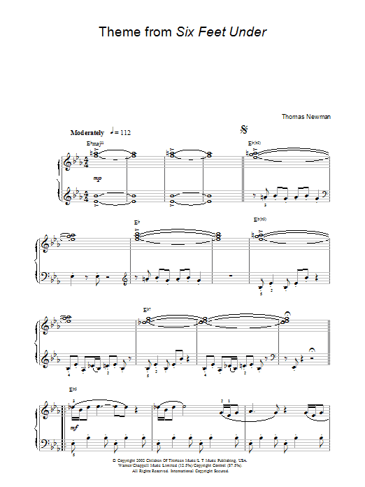 Theme from Six Feet Under sheet music for piano solo (chords) by Thomas Newman
