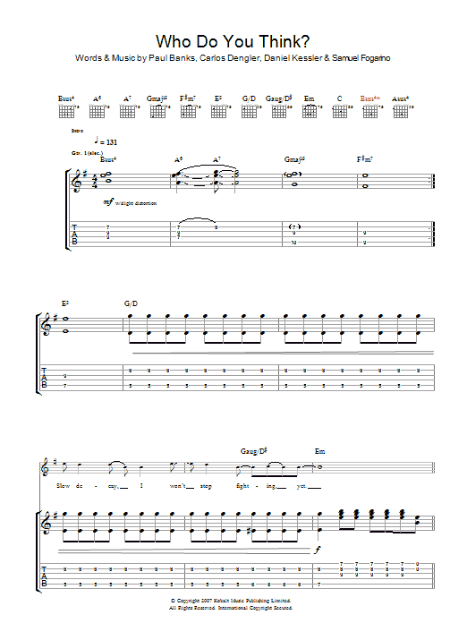 Who Do You Think sheet music for guitar solo (tablature) by Carlos Dengler
