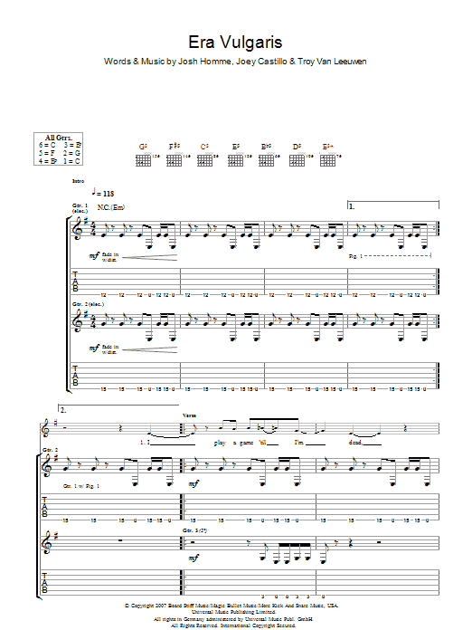 Era Vulgaris by Queens Of The Stone Age - Guitar Tab - Guitar Instructor