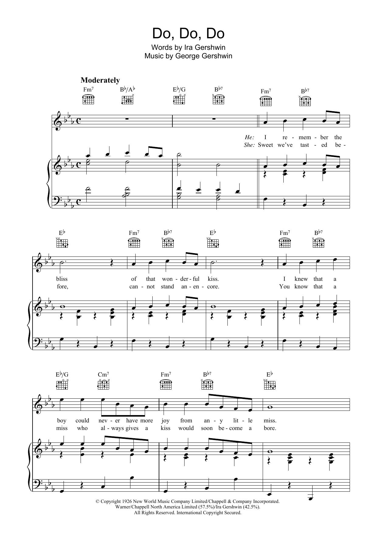 Do Do Do sheet music for voice, piano or guitar by Ira Gershwin