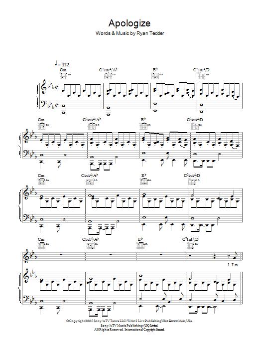 Sheet Music Digital Files To Print Licensed Onerepublic Digital