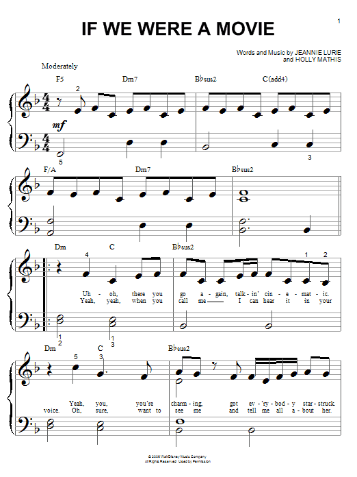 Partition piano If We Were A Movie de Hannah Montana - Piano Facile