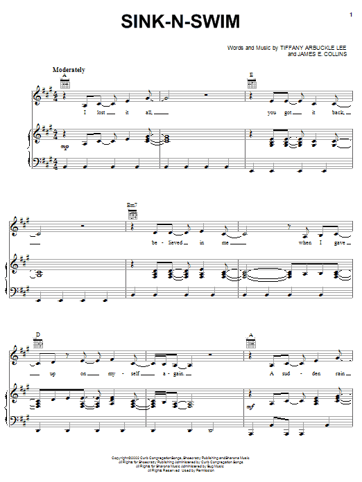 Sink-n-Swim sheet music for voice, piano or guitar by Tiffany Arbuckle