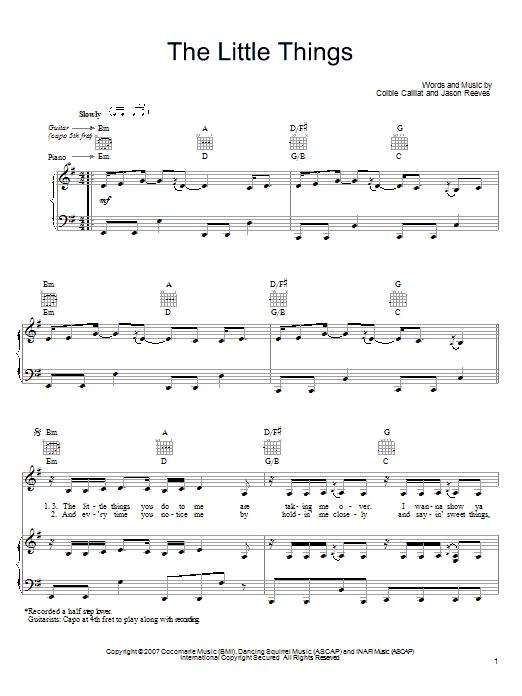 little things piano sheet music pdf