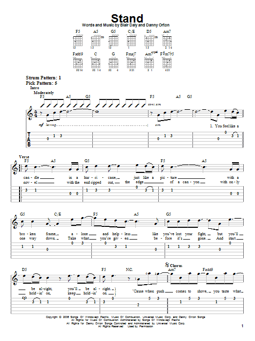 Stand sheet music for guitar solo (easy tablature) by Danny Orton