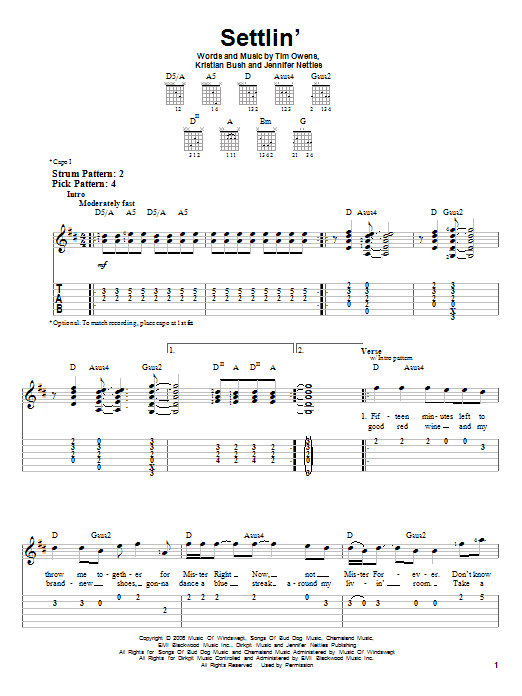Settlin' sheet music for guitar solo (easy tablature) by Tim Owens