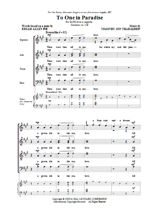 Partition chorale To One In Paradise de Timothy Tharaldson - SATB