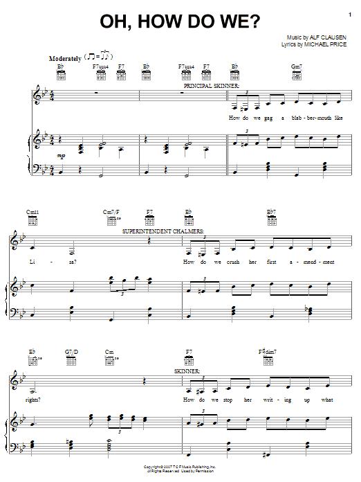 Partition piano Oh, How Do We? de The Simpsons - Piano Voix Guitare (Mélodie Main Droite)