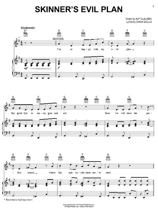 Partition piano Skinner's Evil Plan de The Simpsons - Piano Voix Guitare (Mélodie Main Droite)