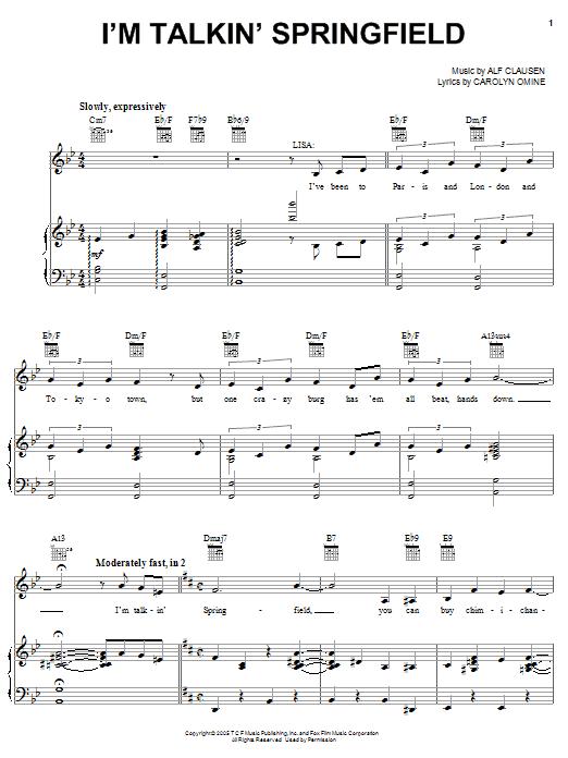 Partition piano I'm Talkin' Springfield de The Simpsons - Piano Voix Guitare (Mélodie Main Droite)