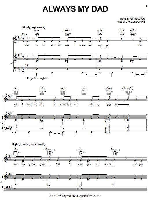 Partition piano Always My Dad de The Simpsons - Piano Voix Guitare (Mélodie Main Droite)