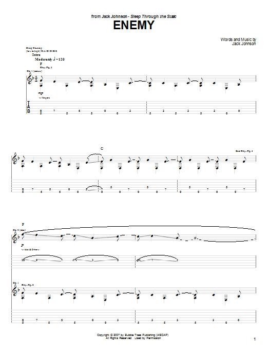 Tablature guitare Enemy de Jack Johnson - Tablature Guitare