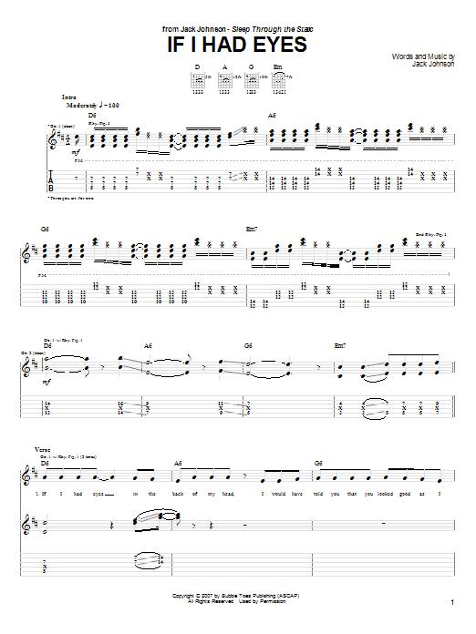 Tablature guitare If I Had Eyes de Jack Johnson - Tablature Guitare