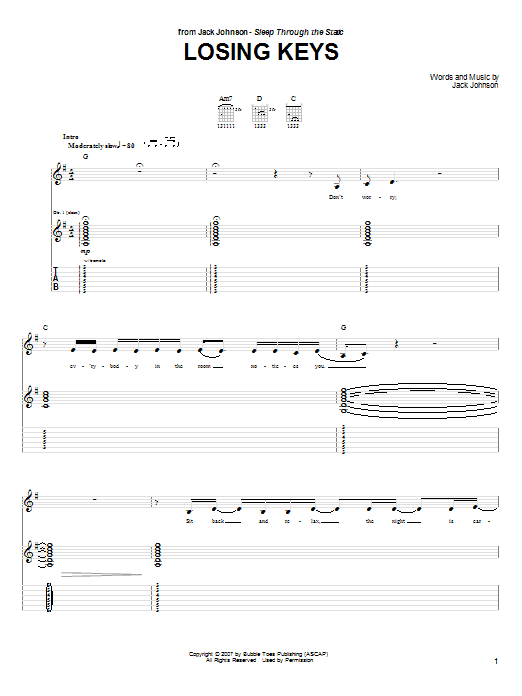 Tablature guitare Losing Keys de Jack Johnson - Tablature Guitare