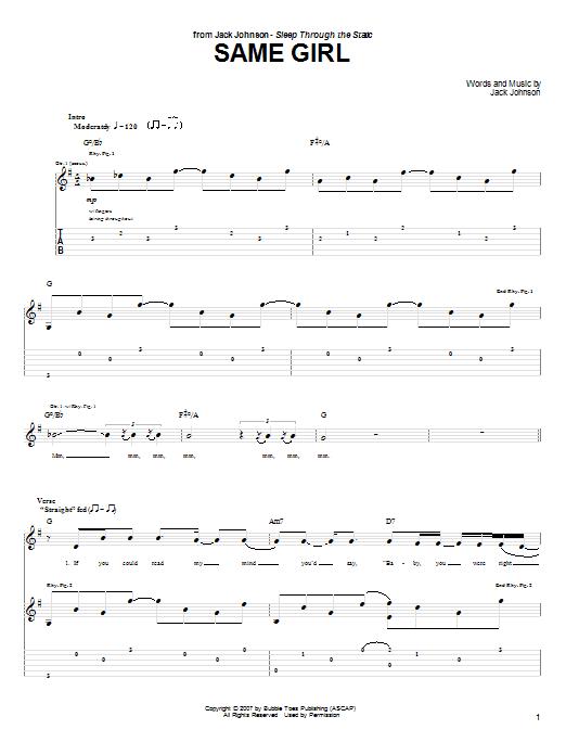 Tablature guitare Same Girl de Jack Johnson - Tablature Guitare
