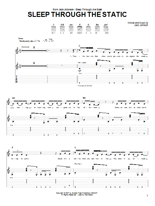 Tablature guitare Sleep Through The Static de Jack Johnson - Tablature Guitare