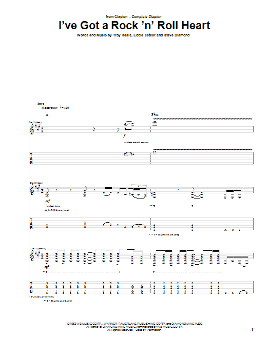 Tablature guitare I've Got A Rock 'N' Roll Heart de Eric Clapton - Tablature Guitare