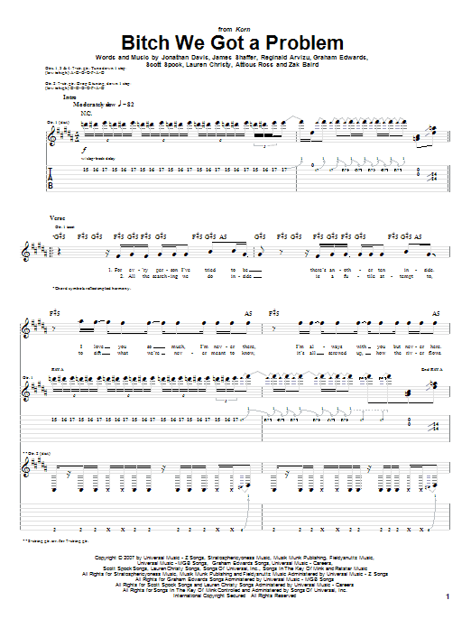 Bitch We Got A Problem sheet music for guitar solo (tablature) by Zak Baird