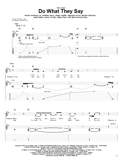 Tablature guitare Do What They Say de Korn - Tablature Guitare