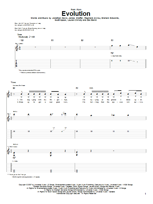 Tablature guitare Evolution de Korn - Tablature Guitare