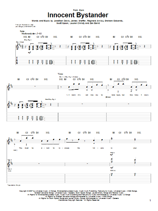 Tablature guitare Innocent Bystander de Korn - Tablature Guitare